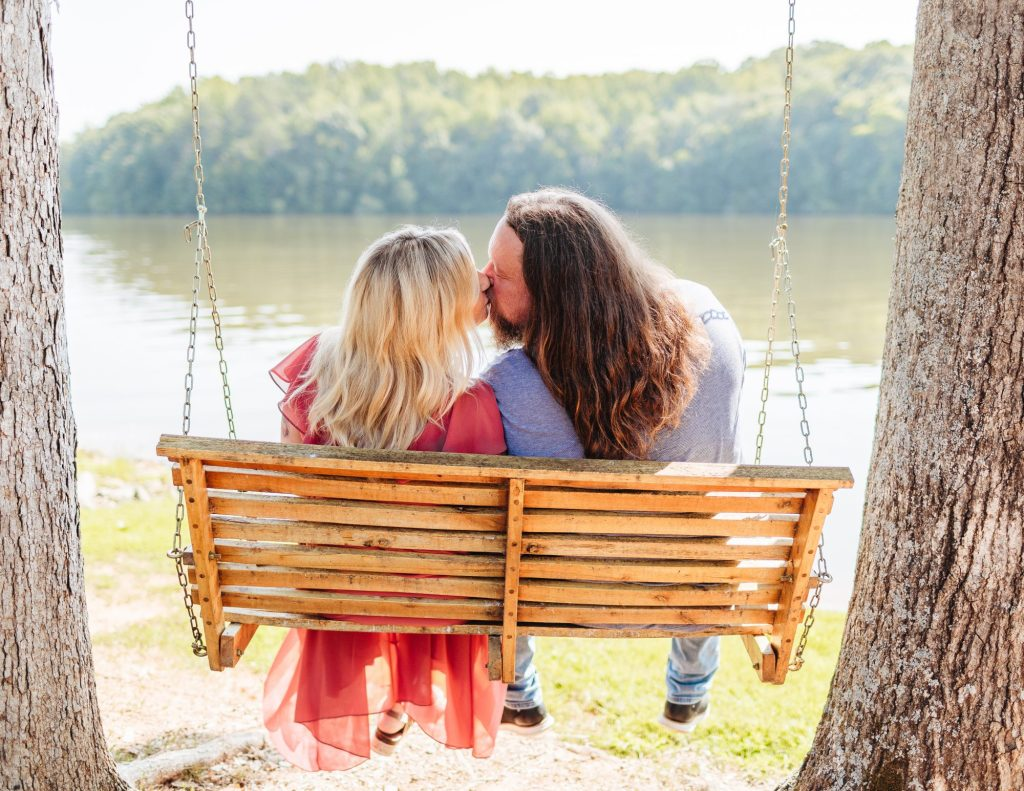 Lakeside maternity photos at Belews Creek in North Carolina with Brooke Grogan Photography.