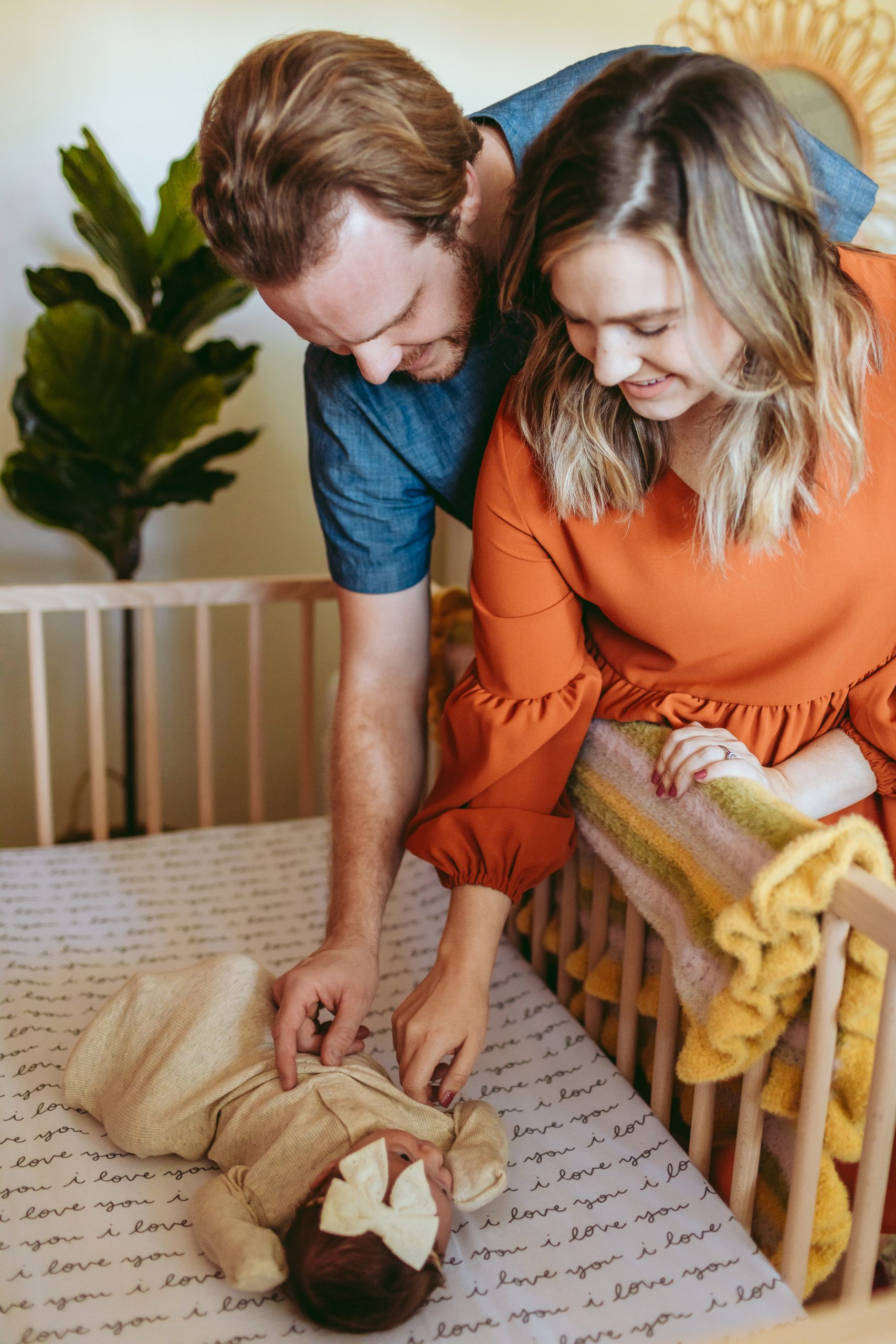 At home natural newborn photos with Brooke Grogan Photography in North Carolina.