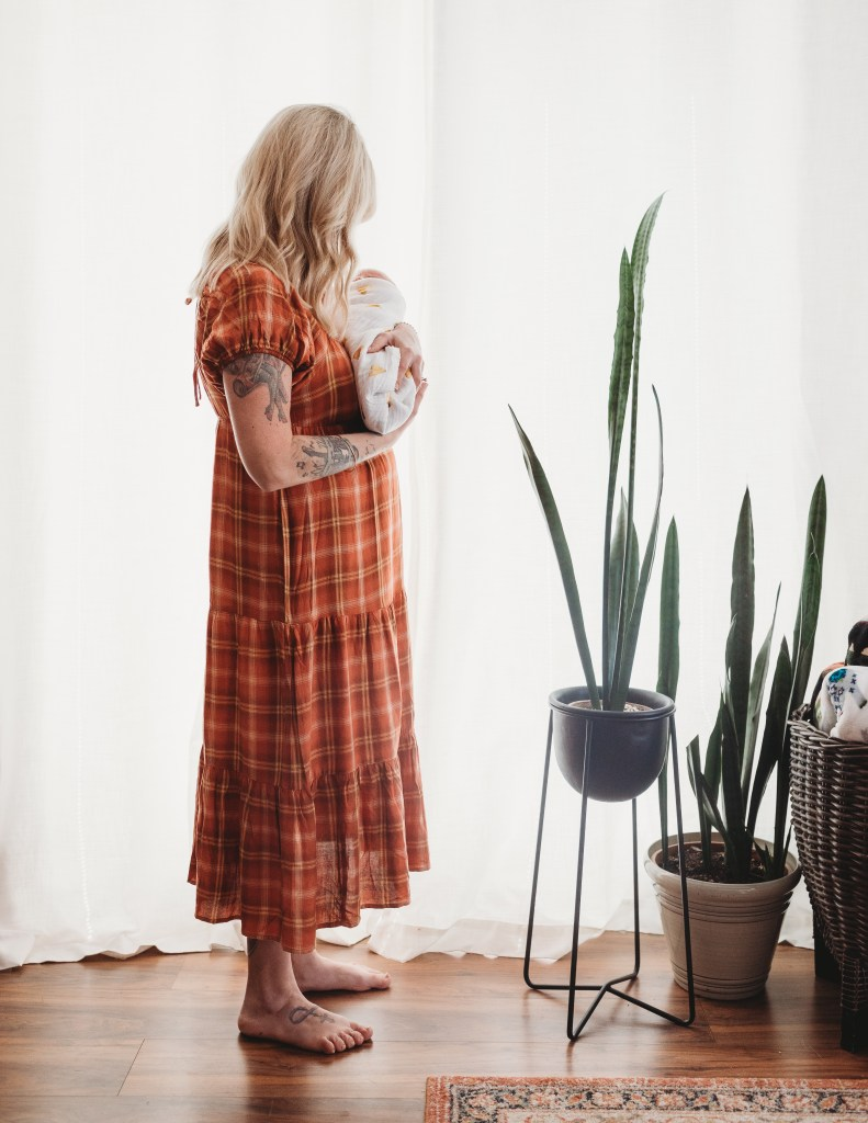 At home newborn photos. Eclectic nursery decor with vintage charm. Brooke Grogan Photography.